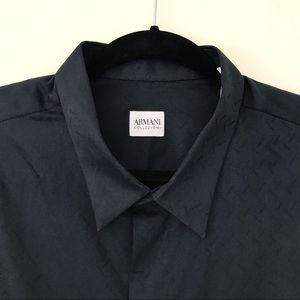 Armani Collezioni Black Plaid Classic Fit Shirt